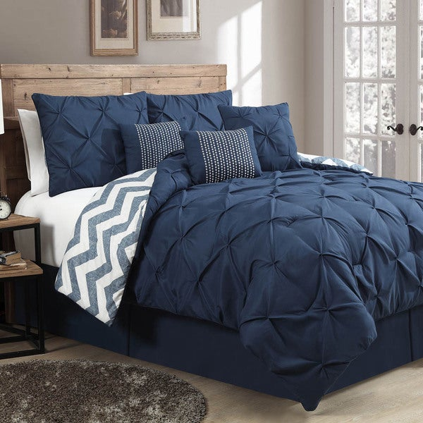 Avondale Manor Ella Pinch Pleat Reversible 7-piece Comforter King Set In Navy (As Is Item)