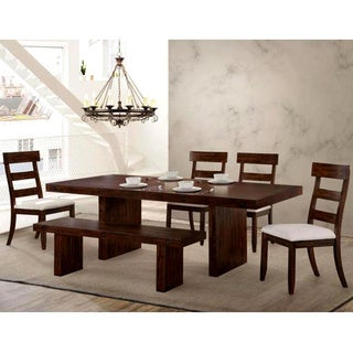 Dolson Bold Block Design Distressed Rustic Dining Set