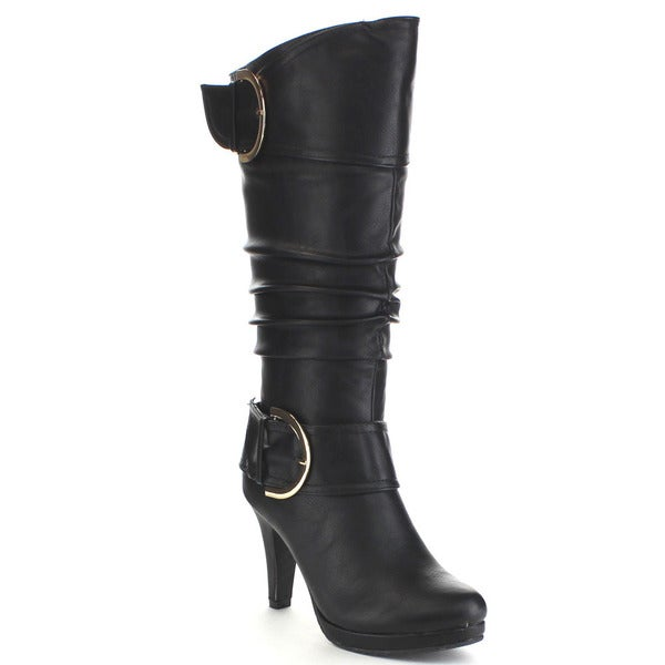 Top Moda PAGE-28 Women's Knee High Round Toe Buckle Slouched Mid Heel Boots