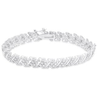 Finesque Gold over Silver or Sterling Silver 1/3 ct TDW Diamond Bracelet