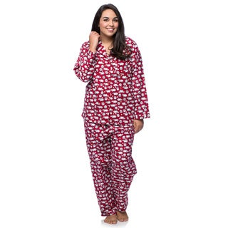 La Cera Women's Plus Size Cotton Sheep Print Flannel Pajamas