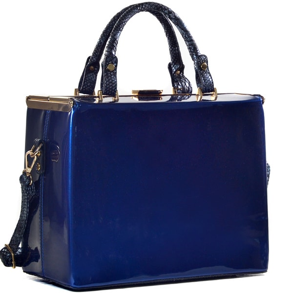Dasein Patent Leather Large Trunk Bag Satchel with Shoulder Strap