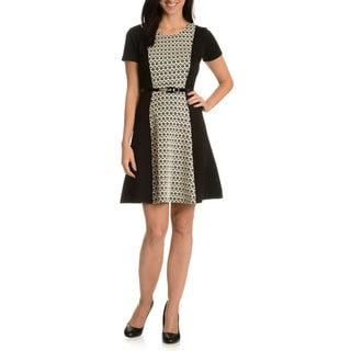 Nina Leonard Women's Quilted Printed Inset Dress