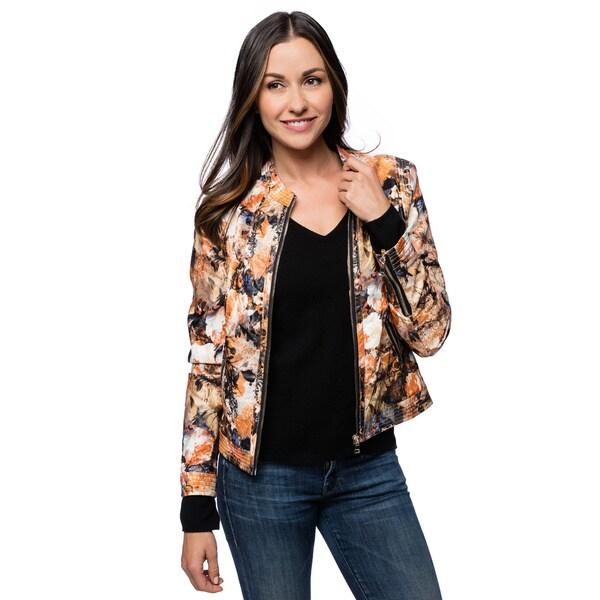 Floral Print Zip Front Jacket