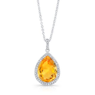 14k White Gold Citrine 1/5ct TDW Diamond and Citrine Pendant (H-I, SI1-SI2)