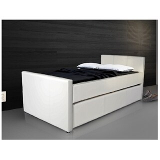 Duette Collection White Eco-Leather XL Twin Bed With Store Away XL Twin Trundle Bed