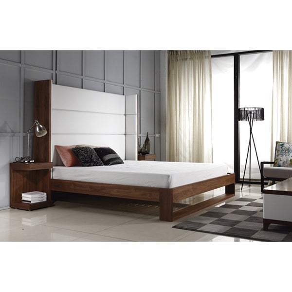 LYON Collection Walnut Veneer w White Eco-Leather King Bed by Casabianca Home