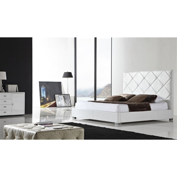 VERONA Collection White leather headboard with eco-leather match rails Queen Bed by Casabianca Home