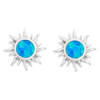 La Preciosa Sterling Silver Blue Opal Sunburst Stud Earrings