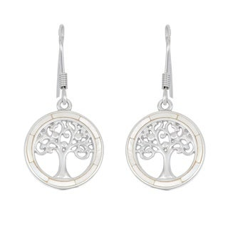 La Preciosa Sterling Silver Mother of Pearl Tree of LIfe Circle Earrings