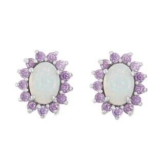 La Preciosa Sterling Silver White Opal and Purple Cubic Zirconia Stud Earrings