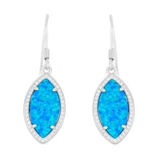 La Preciosa Sterling Silver Opal and Micro Pave Cubic Zirconia Marquise Dangle Earrings