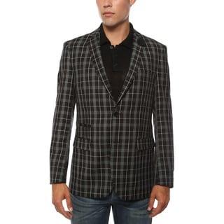 Ferrecci Men's Alton Black and White Slim Fit Plaid Blazer