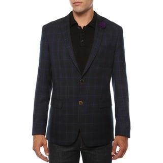 Ferrecci Men's Sodi Purple Tartan Plaid Slim Fit Blazer