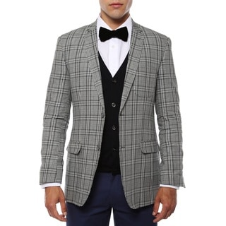 Zonettie Men's Zeus Grey/ Black Plaid Slim Fit Blazer