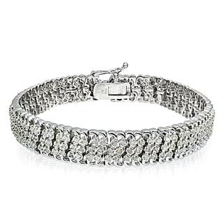 DB Designs Silvertone/Goldtone 1ct TDW Diamond 3-Row Link Bracelet (IJ-I2)