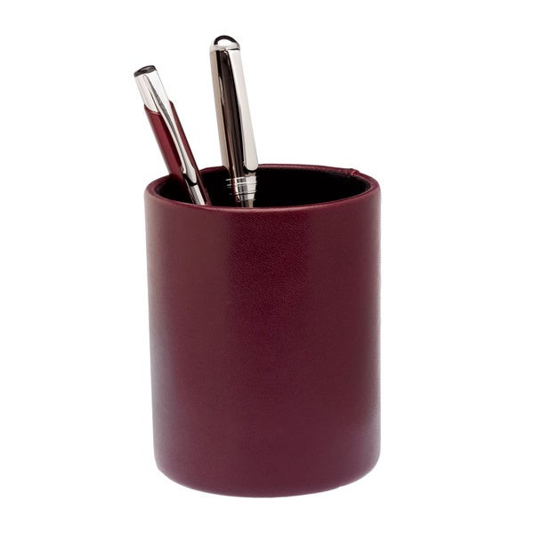 Burgundy Leather Round Pencil Cup