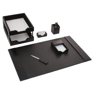 Black Leather 7-piece Econo Line Desk Set