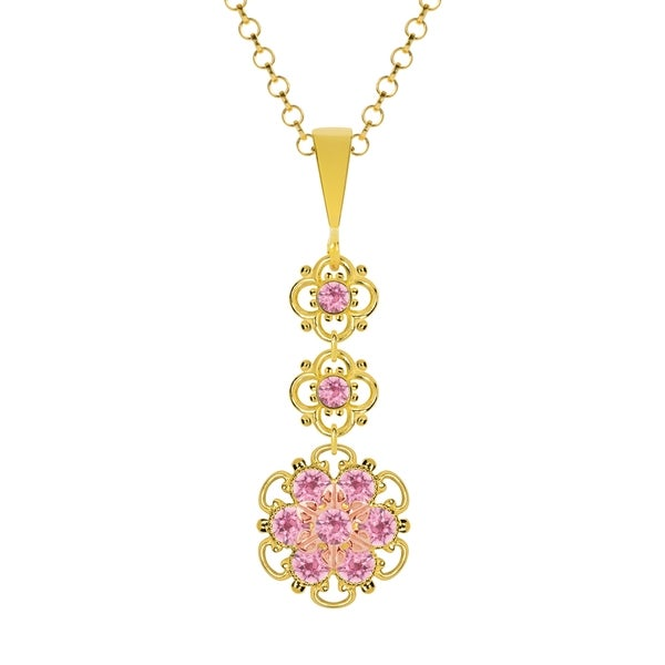 Lucia Costin Silver Light Pink Crystal Pendant