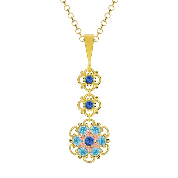 Lucia Costin Silver Blue Crystal Pendant 16559773