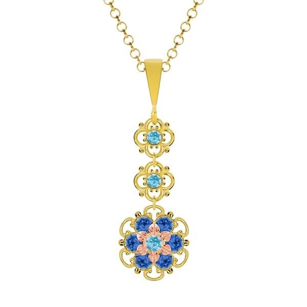 Lucia Costin Silver, Light Blue, Blue Crystal Pendant 16559776