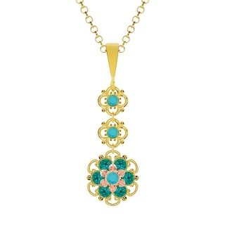 Lucia Costin Silver Green/ Turquoise Crystal Pendant