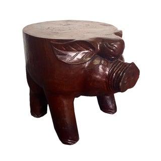 D-Art Teak Carved Pig Stool (Indonesia)
