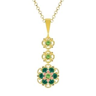 Lucia Costin Silver Light Green Dark Green Crystal Pendant