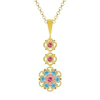 Lucia Costin Silver,Pink,Light Blue Austrian Crystal Pendant