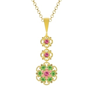 Lucia Costin Silver, Pink, Light Green Crystal Pendant