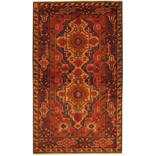 Herat Oriental Afghan Hand-knotted Tribal Balouchi Red/ Navy Wool Rug (3'10 x 6'6)