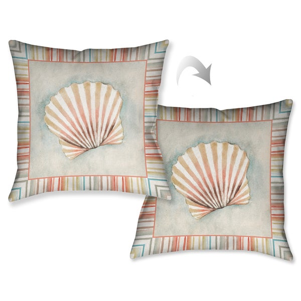 Laural Home Coral Mist Scallop Decorative 18-inch Throw Pillow
