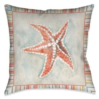 Laural Home Coral Mist Starfish Decorative 18-inch Throw Pillow