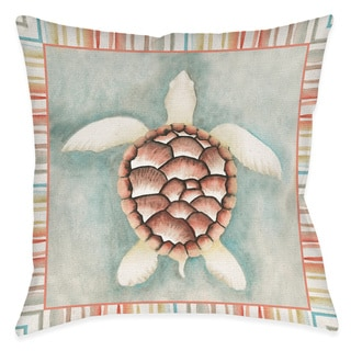 Laural Home Coral Mist Turtle Decorative 18 Inch Throw Pillow