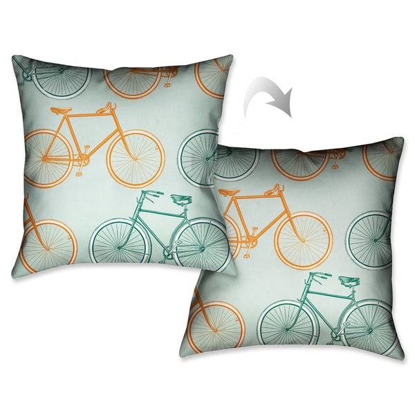 Laural Home European Bike Ride Decorative 18-inch Throw Pillow