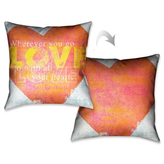 Laural Home Love Press Decorative 18-inch Throw Pillow