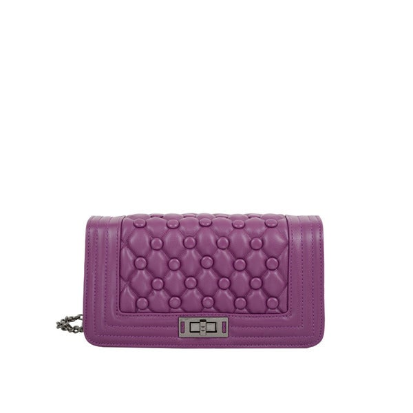 Mellow World Anastasia Purple Quilted Crossbody Clutch