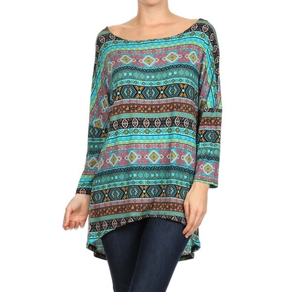 MOA Collection Women's Dolman Sleeve Patterened Top