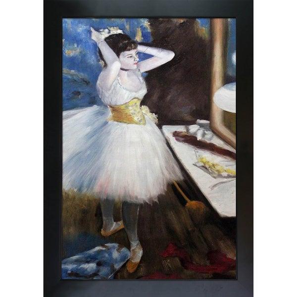 Edgar Degas 'Dancer in Her Dressing Room' Hand Painted Framed Canvas Art
