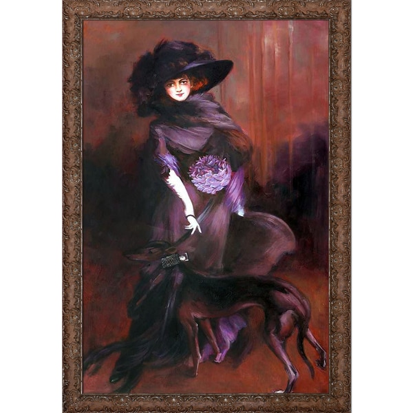 Giovanni Boldini 'Portrait of the Marchesa Luisa Casati with a Greyhound, 1908' Hand Painted Framed Canvas Art