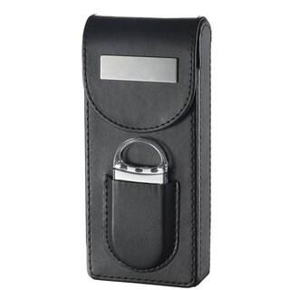 Visol Caldwell Black Leather Cigar Case with Cigar Cutter