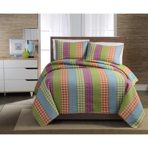Bright stripe Cotton 3-piece Quilt Set