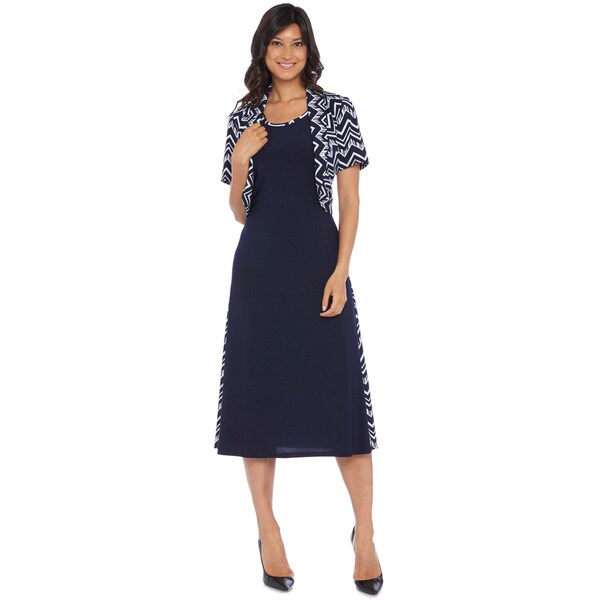 R & M Richards Women's Chevron Long Jacket Dress