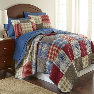 Micro Flannel Berry Patch Plaid 3-piece Quilt Set
