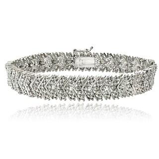 DB Designs Silvertone 1/10ct TDW Diamond Chevron Bracelet (I-J, I2-I3)