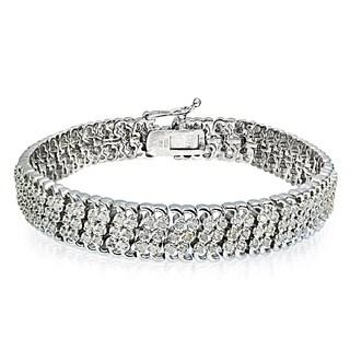 DB Designs Silvertone/Goldtone 2ct TDW Diamond 3-Row Link Bracelet (IJ-I2)