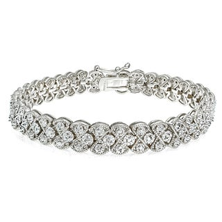 DB Designs Silvertone/Goldtone 1ct TDW Diamond Braided Link Bracelet (IJ-I2)
