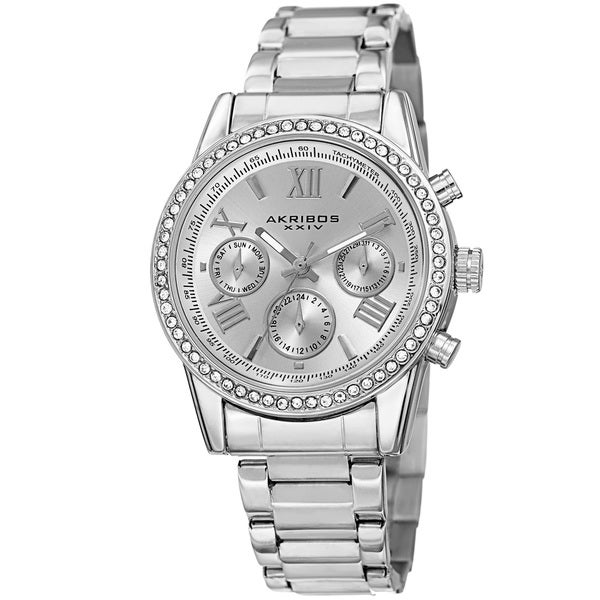 Akribos XXIV Ladies Swiss Quartz Swarovski Crystals Dual-Time Stainless Steel Bracelet Watch