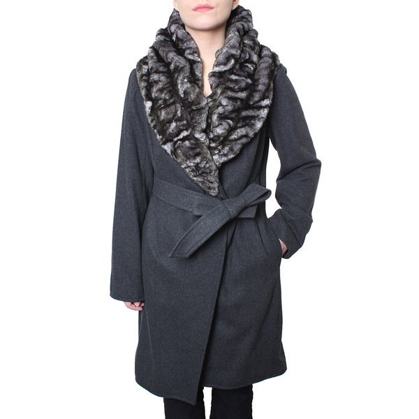 Hilary Radley Faux Chinchilla Wrap Coat