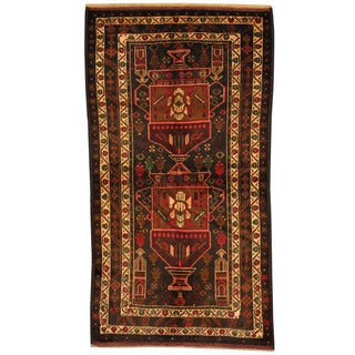 Herat Oriental Afghan Hand-knotted Tribal Balouchi Navy/ Rust Wool Rug (3'7 x 6'9)